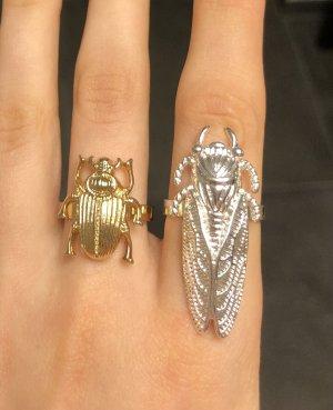 Ring Gold Ring Silber goldener Fingerring Statement Ring Käfer Ring Set