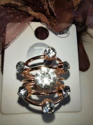 Ring goldfarben mit Glassteinchen neu 18 mm (Modeschmuck)