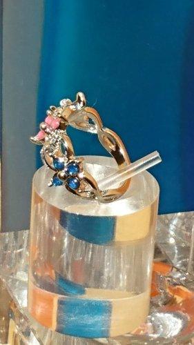 Ring Gr. 16 Sterling Silber Feuer Opal Rosa , Blau ,Weiß -Blumen