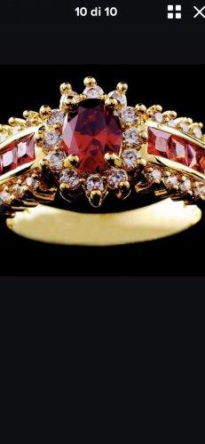 Anillo de cuentas color oro-rojo oscuro