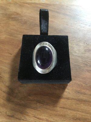 Srebrny pierścionek srebrny-brązowo-fioletowy