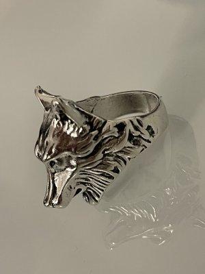 Zdobiony pierścionek srebrny-jasnoszary