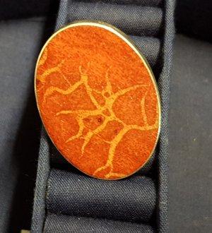 Ring, Koralle, massiv, Silber 925    -  Inklusive Porto