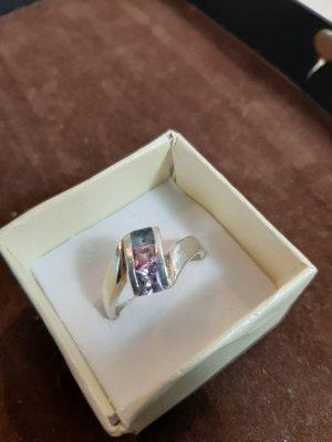 Ring mit 3 Steinen,weiß,rosa ,hellblau, 925 Silber Gr.60