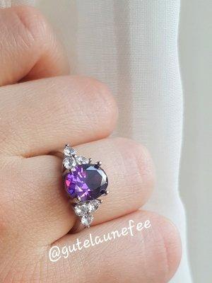 Ring mit Amethyst Zirkonia 925 Sterling Silber gestempelt lila violett Größe 54 (17,2mm)