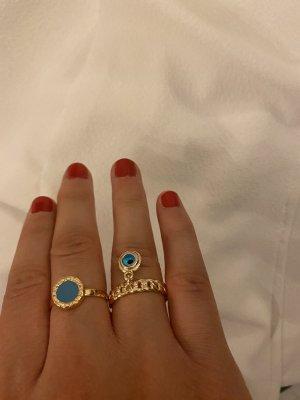 Statement ring goud-blauw