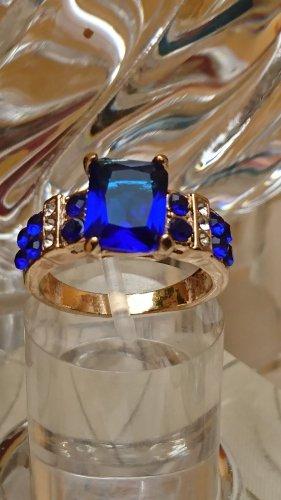 Ring mit blaue Saphire vergoldet Gr.19