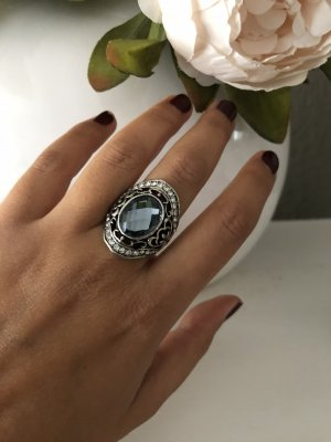 H&M Statement Ring silver-colored-steel blue