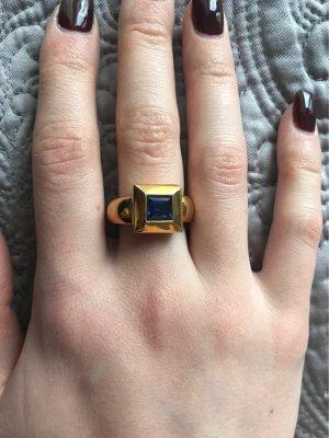 Statement ring goud-donkerblauw