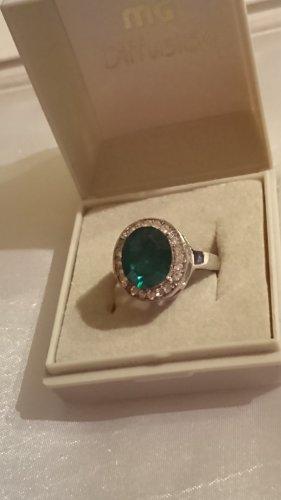 Ring mit grüner Kunst Stein und Strassteine Gr.19