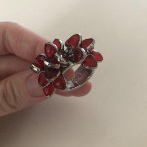 Anello di fidanzamento argento-rosso scuro