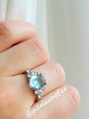 Ring mit Topas Zirkonia 925 Sterling Silber gestempelt blau Größe 54 (17,2mm)
