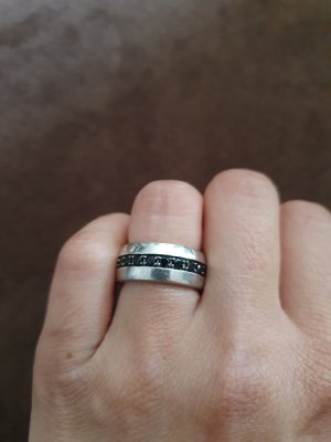 unknown Ring with Decorative Stone black-silver-colored