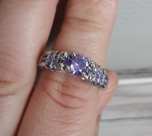 Ring mit Zirconia,  mit weiß Gold überzogen, gr. 17