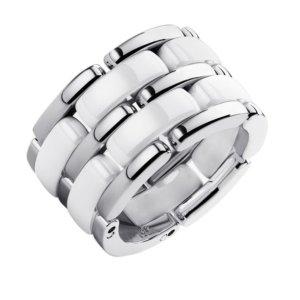 Ring Neu mit Verpackung Edel*stahl & Keramik weiß Größe 16