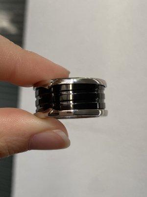 Statement ring zwart-zilver