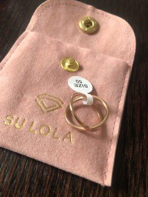 Ring, neu, Roségold, vergoldet, Gr. 50