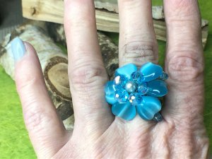 Handmade Statement Ring baby blue-silver-colored