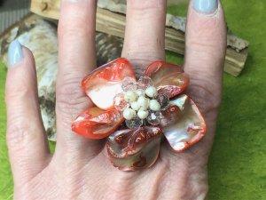 Handmade Statement Ring brick red-natural white