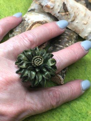 Handmade Anello di fidanzamento verde scuro-argento Pelle