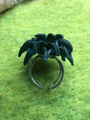Handmade Anello di fidanzamento argento-petrolio Pelle