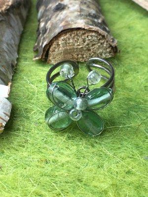Handmade Anello di fidanzamento verde chiaro-argento