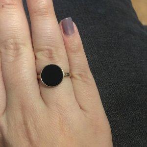 Ring roségold schwarz aus Edelstahl Kreis rund