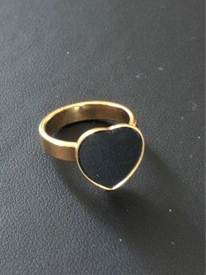 Statement ring zwart-goud