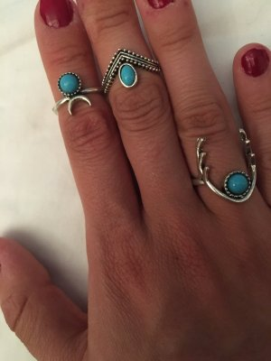 Statement Ring silver-colored-cornflower blue