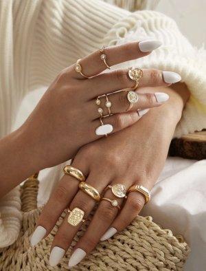 Bijou Brigitte Statement ring goud-wit