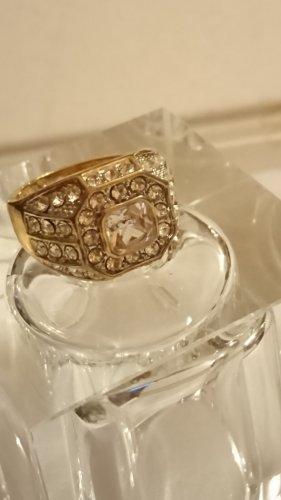 Ring Silber 925 vergoldet mit viel Zirkonia Steinchen Gr.19