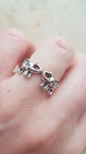 Ring silberfarben / zwei Elefanten / Boho Vintage