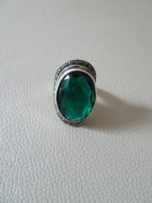 Ring,Silberring,Markasit,grün, Silber ,925,Statementring,Art Deco