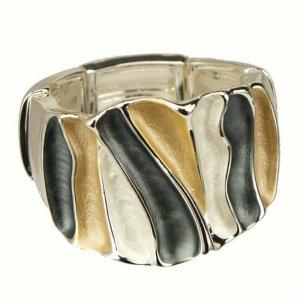 Ring verstellbar Damenring Stretchring silber schwarz weiß gold groß breit modern