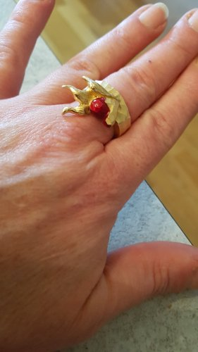 Drachenfels Design Statement Ring gold-colored-red
