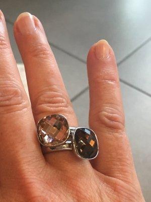Zilveren ring beige-bruin Metaal