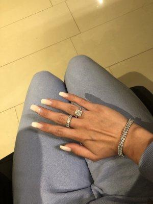 925er Silber Zestaw biźuterii srebrny-biały