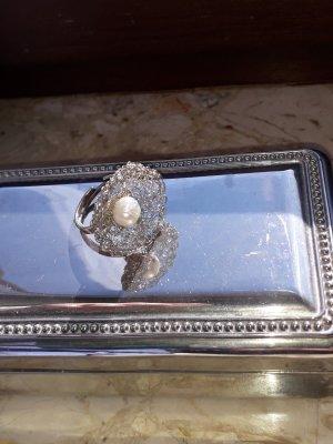 Srebrny pierścionek srebrny-złoto