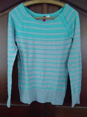 H&M Divided Stripe Shirt light grey-turquoise