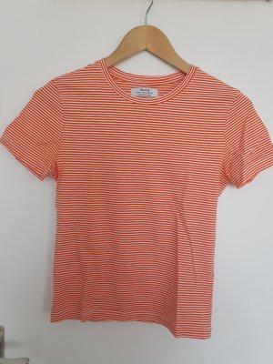 Bershka Koszulka w paski biały-pomarańczowy