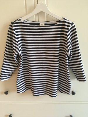 H&M Koszulka w paski ciemnoniebieski-biały Bawełna