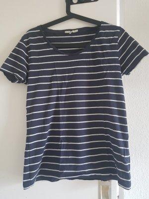 armedangels T-shirt rayé bleu foncé
