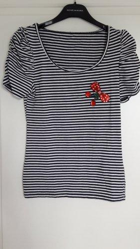 Zara Gestreept shirt wit-donkerblauw