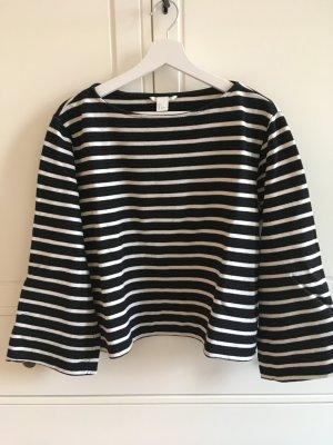 H&M Koszulka w paski czarny-w kolorze białej wełny Bawełna