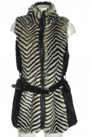 Rino & Pelle Fake Fur Vest black-white striped pattern casual look