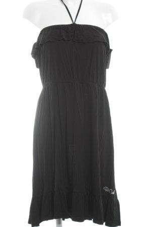 Rip curl schulterfreies Kleid schwarz Logo-Applikation