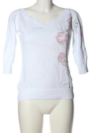Rip curl Pull tricoté blanc-rose motif de fleur style décontracté