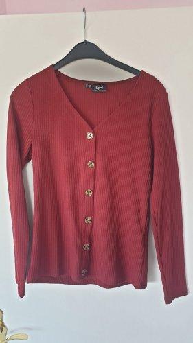 b.p.c. Bonprix Collection Prążkowana koszulka bordo-brązowo-czerwony
