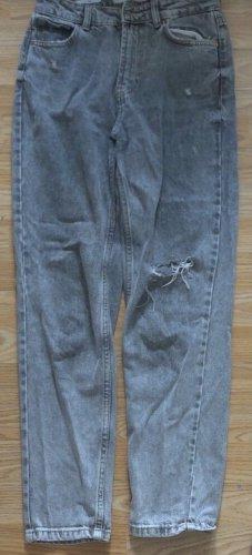 Bershka Workowate jeansy szary-srebrny