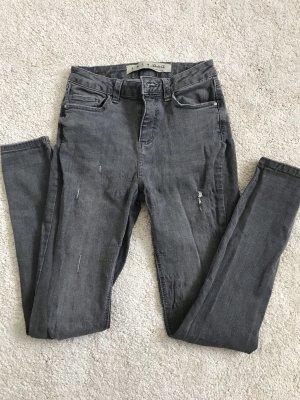 Denim Co. Jeans cigarette gris coton
